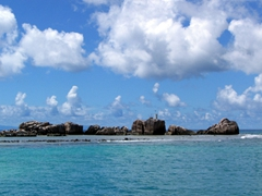 First view of gorgeous La Digue as we are pulling into the harbor