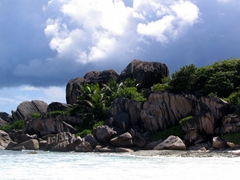 We decided to scale the boulders of Grand Anse beach