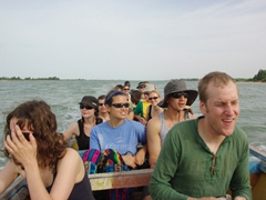 Our group crowded onto a boat for a ride through Langue de Barbarie National Park
