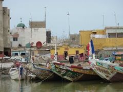 Detail of the intricate colors and patterns of the boats of St-Louis