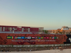 Billboard outside the housing section for the African performers at Dakar's World Festival of Black Arts and Cultures