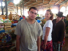 Dowelly, Bree and Lucky doing cook group shopping duties at Dakar's Marche Kermel