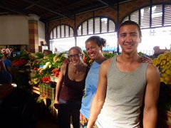 MJ, Becky and Luke are all smiles inside Dakar's massive Marche Kermel