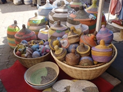 Colorful basket ware for sale; Marche Kermel in Dakar