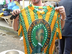 Obama shirts, bags, stickers, posters, etc are everywhere in Africa. Becky finally decided that she needed to buy this shirt to fit in; Musanze