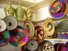 Local handwoven crafts for sale at a handicraft center; Musanze