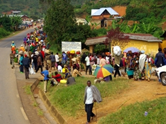 This main road in Rwanda is extremely busy with pedestrians on market day