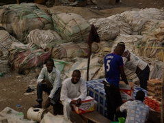 Hundreds of rice bags are ready to be recycled; Abeokuta market