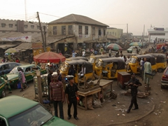 A bustling traffic circle; Abeokuta