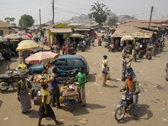 View of the bustling streets of Bida