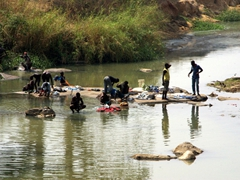 Nigerians scrubbing laundry in a river; Bida