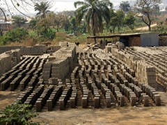 Bricks laid out to bake in the sun; near Abuja