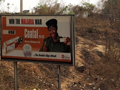 Anti-malaria tablets billboard (pills are surprisingly affordable in Africa, available at a fraction of the price that it costs in most western countries)