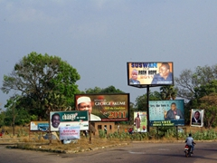 Numerous election posters dot the Nigerian countryside