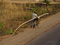 An elderly Nigerian man walks beside his bike while transporting a massively long stem