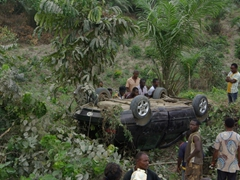 Unfortunate traffic accident near Ogoja where an out of control driver flips his car