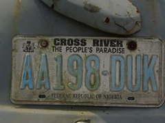 "License plate for Cross River ""The People's Paradise"""