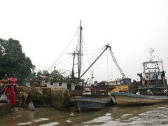 "View of the boats in harbor at Calabar's ""the beach"", point of departure for our speed boat to Creek Town"