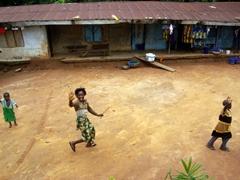 Happy children greet us; Katabang