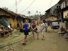 Becky, Lucky and Dowelly hanging out in Duke Town; Calabar