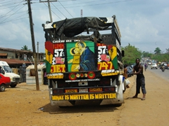 """What is Written is Written"" religious caption on a truck; Ikom"