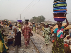 The rail road tracks of Abeokuta have been converted into a makeshift market