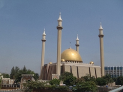 The golden dome and sky high minarets of Abuja's Central Mosque captured our attention