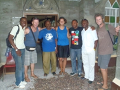 Group photo with the friendly people we met at Calabar's Christ African Church Cathedral where we sought refuge from a heavy rain storm