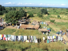 Clothes for sale on a makeshift stand; Lake Malawi