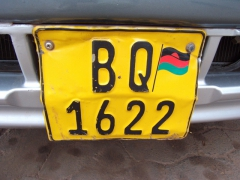 An old Malawian license plate