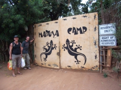 Lucky and Robby posing outside Mabuya Camp, our campsite in Lilongwe (beware the awful ant infestation here)