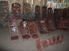 Nelson's display of Malawian chairs (they make excellent souvenirs); Kande Beach