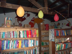Donated school books make up the Kande School library