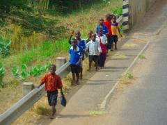 School boys heading home from school