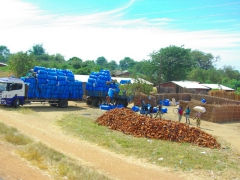 Cotton is big business in Malawi as this truck had added a trailer to help carry its load