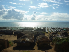 Racks for drying fish in the sun line the waterfront of Lake Malawi (where a whopping 600 species of cichlid fish thrive, 99% of which are endemic to the lake)
