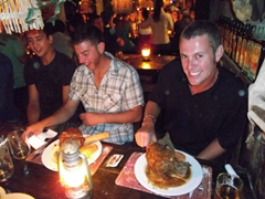 Dowelly and Robby are about to dig in to their massive kudu knuckle dinner; Joe's Beer House in Windhoek
