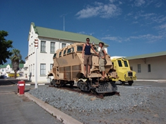Luke and Becky strike a pose outside Windhoek's train station