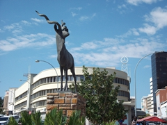The kudu statue in Windhoek commemorates a mass kudu wipeout decades ago