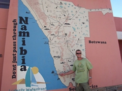 Robby points out Luderitz on a Namibian map