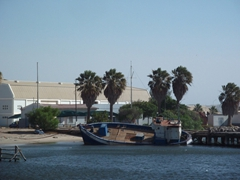 An overturned boat by the Luderitz waterfront
