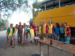 The group donning their Senegal shirts and Happy Pants; Naute Bush Camp