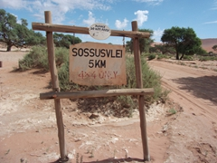 A Sossusvlei signpost (getting to the dunes requires a 4 KM walk or ride)