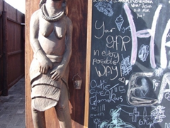 A Himba female statue outside the ladies toilet; Walvis Bay