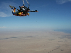 Robby and Mathias skydiving over Swakopmund