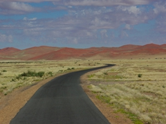 The drive out to Sossusvlei sand dunes