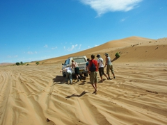 4WD is a must in Sossusvlei...here the group helps a vehicle get unstuck from the sand dunes
