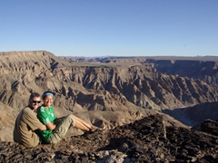 Posing at Fish River Canyon (the second largest in the world)