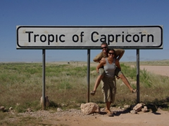 Posing next to the Tropic of Capricorn