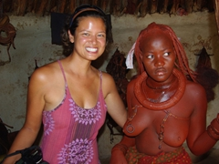 Becky and a Himba tribal lady; Ohungumure Village